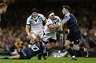 Josh Matavesi of the Ospreys runs in to Alex Cuthbert of the Cardiff Blues ®. Guinness Pro12 rugby match, Judgement day, Cardiff Blues v Ospreys  at the Principality Stadium in Cardiff, South Wales on Saturday 15th April 2017. <br /> pic by Andrew Orchard, Andrew Orchard sports photography.