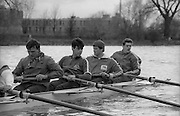 Chiswick. London.<br /> Eights starting from Mortlake<br /> left to right. Martin CROSS, John GARRETT, John MAXEY and Terry DILLON.<br /> 1987 Head of the River Race over the reversed Championship Course Mortlake to Putney on the River Thames. Saturday 28.03.1987. <br /> <br /> [Mandatory Credit: Peter SPURRIER;Intersport images] 1987 Head of the River Race, London. UK