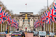 January 31, 2020, London, England, United Kingdom: United Kingdom flags fly around the Pall Mall Street towards Buckingham Palace in London, ahead of the country's departure from the European Union. (Credit Image: © Vedat Xhymshiti/ZUMA Wire)