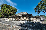 Mesoamerica residents called Tajin Chico at the pre-Columbian archeological site of El Tajin in Tajin, Veracruz, Mexico. El Tajín flourished from 600 to 1200 CE and during this time numerous temples, palaces, ballcourts, and pyramids were built by the Totonac people and is one of the largest and most important cities of the Classic era of Mesoamerica.