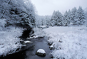 Winter landscape with stream.
