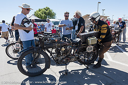 Yoshimasa Niimi arrives with his 1915 Indian at Luckie Park in Twentynine Palms, California where the city hosted a lunch for the riders during the Motorcycle Cannonball Race of the Century. Stage-14 ride from Lake Havasu CIty, AZ to Palm Desert, CA. USA. Saturday September 24, 2016. Photography ©2016 Michael Lichter.