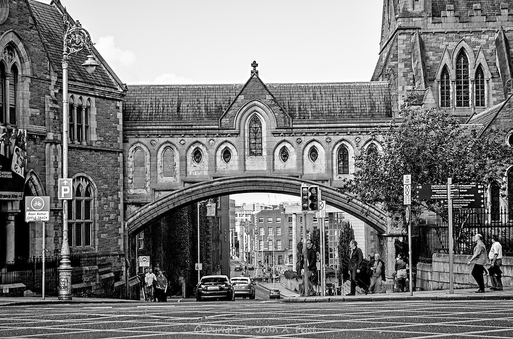 St. Patrick's Cathedral sits In the heart of Dublin, Ireland.  This covered archway connects the church to the other buildings that support it.  It's wonderful to see how totally the very traditional aspects of this old city are merged with the modern.