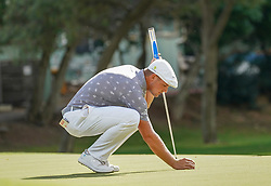 January 11, 2019 - Honolulu, HI, U.S. - HONOLULU, HI - JANUARY 11: Bryson DeChambeau places his ball on the green before lining up his putt of the 1st hole during the second round of the Sony Open at the Waialae Country Club in Honolulu, HI. (Photo by Darryl Oumi/Icon Sportswire) (Credit Image: © Darryl Oumi/Icon SMI via ZUMA Press)