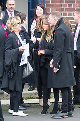 © Licensed to London News Pictures. 03/11/2015. Manchester, UK. (left to right) actors Sue Johnston, Samia Ghadie & Anthony Cotton at The funeral of Kirsty Howard who was given just weeks to live at the age of four has taken place in Manchester today. Kirsty Howard was one of only two people in the world born with a back-to-front heart. She died on 24 October having spent years raising millions of pounds for Francis House children's hospice in Manchester. Photo credit: Andrew McCaren/LNP