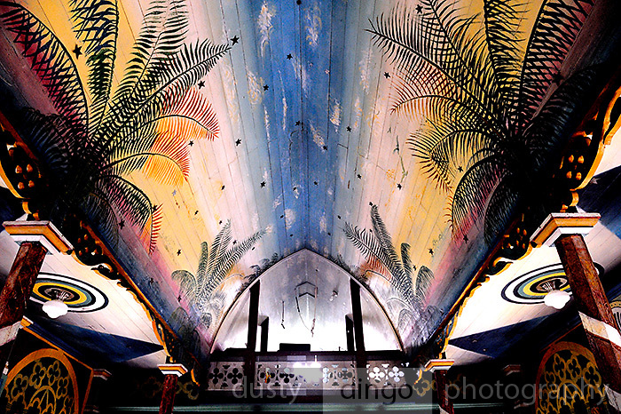Hand-painted interior of St. Benedict's Roman Catholic Church, also known as the Painted Church. Honaunau, Kona, Big Island, Hawaii RIGHTS MANAGED LICENSE AVAILABLE FROM www.PhotoLibrary.com
