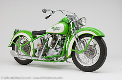 """""""Flashy Knuckle,"""" built from an old 74-inch Knuckle Motor by Arlen Ness. Appears in the book """"The King of Choppers,"""" by Michael Lichter and Arlen Ness."""