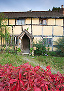 Quaint Tudor style half-timbered cottage at Eardisland, Herefordshire, UK
