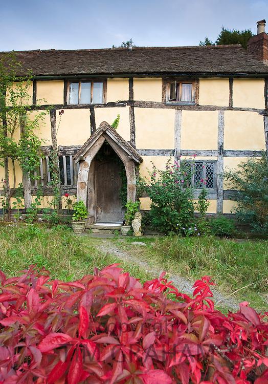 Quaint Tudor style half-timbered cottage at Eardisland, Herefordshire, UK