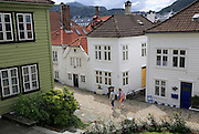 Historic wooden houses in Nostet area of city centre, Bergen, Norway