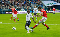 SAINT PETERSBURG, RUSSIA - MARCH 27: RUSSIA-FRANCE. International friendly football match at Saint Petersburg Stadium on March 27, 2018 in Saint-Petersburg, Russia. French's N'Golo Kante (L) and Russian's Alan Dzagoev. (Photo by MB Media/Getty Images)