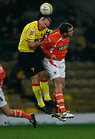 Photo: Richard Lane/Richard Lane Photography. Watford v Blackpool. Coca Cola Championship. 01/11/2008. Jay DeMerit (L) and Ben Burgess (R) in the air