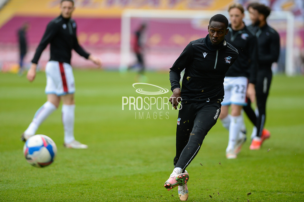 Scunthorpe United Abo Eisa (11) warming up during the EFL Sky Bet League 2 match between Bradford City and Scunthorpe United at the Utilita Energy Stadium, Bradford, England on 1 May 2021.