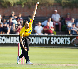 Gloucestershire's Liam Norwell<br /> <br /> Photographer Simon King/Replay Images<br /> <br /> Vitality Blast T20 - Round 1 - Somerset v Gloucestershire - Friday 6th July 2018 - Cooper Associates County Ground - Taunton<br /> <br /> World Copyright © Replay Images . All rights reserved. info@replayimages.co.uk - http://replayimages.co.uk