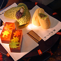 Asia, Japan, Tokyo. Display of autumn seasonal sweets in basement floor food halls of Department store on the Ginza.