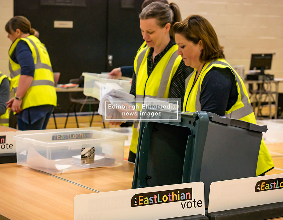 Pictured:  Haddington & Lammermuir by-election count. Haddington, East Lothian, Scotland, United Kingdom, 10 May 2019. The election takes place of one councillor in Ward 5 of East Lothian Council due to the resignation of Councillor Brian Small. The successful candidate represents this ward along with the three existing councillors. The by-election uses the Single Transferable Vote (STV) system in which voters can rank candidates in order of preference and can choose to vote for as many or as few candidates as they like. The election fields 5 candidates from Scottish National Party (SNP), Scottish Labour Party, Scottish Conservatives and Unionist Party, Scottish Liberal Democrats and UK Independence Party (UKIP).<br /> The candidate elected is XX.<br /> Sally Anderson   EdinburghElitemedia.co.uk