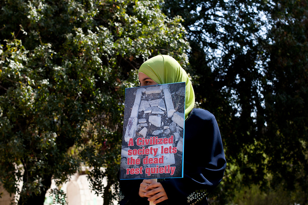 Palestinians protest against the destruction of old Muslim graves in the old Muslim cemetry located in central Jerusalem, on August 18, 2010, as the graves are supposedly destroyed to make way for a planned Museum of Tolerance.