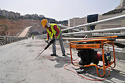 Israel, Haifa, The Carmel Tunnels. A 6.5 Km highway being built under the Carmel Mountain (4.7 Km of tunnelling is required) Photographed at the Neve Shaanan interchange (Central Entrance) June 2010.
