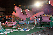 Atmosphere at The Macy's Balloon Inflation session held at West 79th and Central Park West on November 26, 2008 in New York City..A tradition since 1927, the giant character balloons are slowly blown up and brought to life in the streets around the American Museum of Natural History. The enormous balloons take up two full city blocks. Nets and sandbags are used to keep the balloons from escaping during the night.
