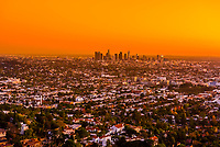 Downtown Los Angeles skyline at sunset, California USA.