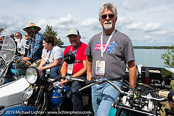 Joe Ferri lined up for the panorama portrait in Aune Osborne Park in Sault Sainte Marie, the site of the official start of the Cross Country Chase motorcycle endurance run from Sault Sainte Marie, MI to Key West, FL. (for vintage bikes from 1930-1948). Thursday, September 5, 2019. Photography ©2019 Michael Lichter.