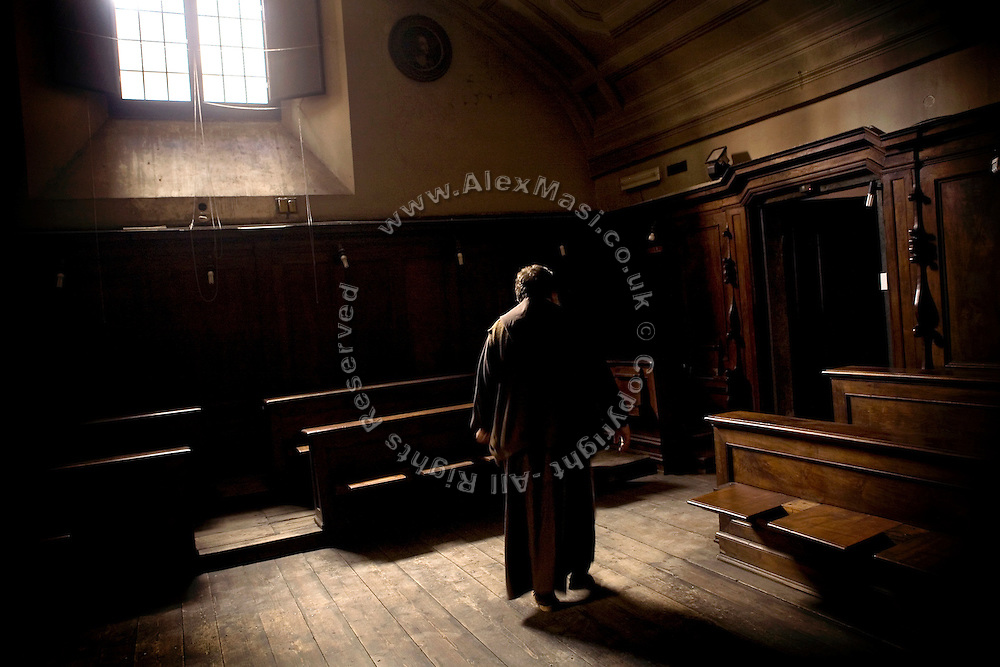 Father Carmine de Filippis, 55, from The Church of Immacolata Concezione (Church of Cappuccini), in Rome, Italy, is walking in the sacristy of his church. He has been an exorcist since 1983.<br /> <br /> FOR MORE INFORMATION PLEASE WRITE TO ALEX@ALEXMASI.CO.UK<br /> <br /> **TEXT AND LENGHTY INTERVIEWS AVAILABLE**