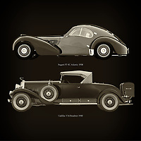 For the lover of old classic cars, this combination of a Bugatti 57-SC Atlantic 1938 and Cadillac V16 Roadster 1930 is truly a beautiful work to have in your home.<br /> The classic Bugatti 57-SC Atlantic and the beautiful Cadillac V16 Roadster are among the most beautiful cars ever built.<br /> You can have this work printed in various materials and without loss of quality in all formats.<br /> For the oldtimer enthusiast, the series by the artist Jan Keteleer is a dream come true. The artist has made a fine selection of the very finest cars which he has meticulously painted down to the smallest detail. – –<br /> -<br /> <br /> BUY THIS PRINT AT<br /> <br /> FINE ART AMERICA<br /> ENGLISH<br /> https://janke.pixels.com/featured/bugatti-57-sc-atlantic-1938-and-cadillac-v16-roadster-1930-jan-keteleer.html<br /> <br /> WADM / OH MY PRINTS<br /> DUTCH / FRENCH / GERMAN<br /> https://www.werkaandemuur.nl/nl/shopwerk/Bugatti-57-SC-Atlantic-1938-en-Cadillac-V16-Roadster-1930/755109/132?mediumId=1&size=60x60<br /> –