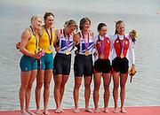 Eton Dorney, Windsor, Great Britain,..2012 London Olympic Regatta, Dorney Lake. Eton Rowing Centre, Berkshire.  Dorney Lake.  ..Women's Double Scull,  Gold medalist centre, GBR W2X. Anna WATKINS (b) , Katherine GRAINGER (s)  left. Silver Medalist .AUS W2X.  [Hidden] Kim CROW (b) , Brooke PRATLEY (s) and Bronze medalist  POL W2X Magdalena FULARCZYK (b) , Julia MICHALSKA (s)..12:48:38  Friday  03/08/2012   [Mandatory Credit: Peter Spurrier/Intersport Images]