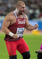 Athletics - 2017 IAAF London World Athletics Championships - Day Three, Evening Session<br /> <br /> Men's Shot Putt Final<br /> <br /> Stipe Zunic (Croatia) celebrates after getting the bronze medal at the London Stadium<br /> <br /> COLORSPORT/DANIEL BEARHAM