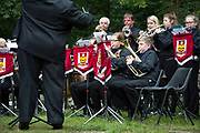 The Hardraw Scaur Brass Band Festival. Shirland Welfare band performance. Organised by the Yorkshire and Humberside Brass Band Association, the competition is Britain's second oldest outdoor contest and takes place annually in Hardraw Scar in Wensleydale, North Yorkshire, England, UK. The area, a natural amphitheatre, attracts bands from all over the North of England and is a popular event amongst players and audiences alike.