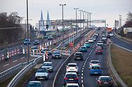 Germany, Cologne, access road B 55a to the Zoo bridge, town district Kalk and Buchforst, in the background the cathedral.<br /> <br /> Europa, Deutschland, Koeln, Auffahrt B 55a zur Zoobruecke, Stadtteile Kalk und Buchforst, im Hintergrund der Dom.