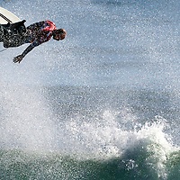 11-time world champion Kelly Slater struts his stuff as he grabs some rarified air during the 'Expressions Session' at the O'Neill Coldwater Classic  at Steamer Lane in Santa Cruz, California.<br /> Photo by Shmuel Thaler <br /> shmuel_thaler@yahoo.com www.shmuelthaler.com