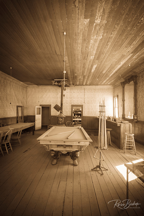 Pool table and bar at the Wheaton and Hollis Hotel, Bodie State Historic Park, California USA