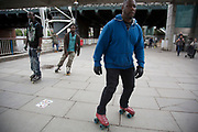 Rollerskating on the riverside walkway. The South Bank is a significant arts and entertainment district, and home to an endless list of activities for Londoners, visitors and tourists alike.