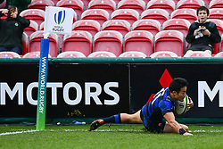 Kenki Fukuoka of Japan scores a try<br /> <br /> Photographer Craig Thomas<br /> <br /> Japan v Russia<br /> <br /> World Copyright ©  2018 Replay images. All rights reserved. 15 Foundry Road, Risca, Newport, NP11 6AL - Tel: +44 (0) 7557115724 - craig@replayimages.co.uk - www.replayimages.co.uk