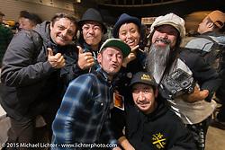 420 Kustoms of Japan with friends at the pre-party for the Mooneyes Yokohama Hot Rod & Custom Show. Yokohama, Japan. December 5, 2015.  Photography ©2015 Michael Lichter.