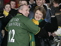 Delia Smith with a Norwich fan.<br /> Norwich v Chelsea, Barclays Premiership, 05/03/05. Picture by Barry Bland