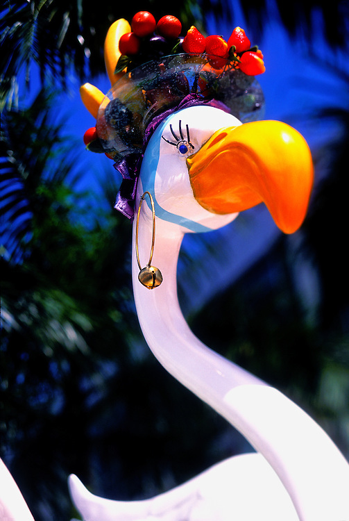 One of a series of 7-feet high, fiberglass flamingos created in 2002 as part of the City of Miami Beach's Art in Public Spaces program. Various local artists decorated each flamingo differently -- this one affectionately references Brazilian song and dance diva Carmen Miranda's famous fruit-bedecked headdresses.
