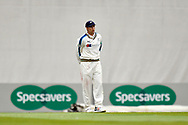 Joe Root of Yorkshire in the field with the specsavers advertising boards behind him during the Specsavers County Champ Div 1 match between Hampshire County Cricket Club and Yorkshire County Cricket Club at the Ageas Bowl, Southampton, United Kingdom on 21 April 2017. Photo by Graham Hunt.