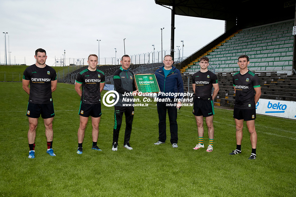 08-07-21, Club Na Mhi Jersey Square Presentations at Pairc Tailteann.<br />Pictured, L-R, Donal Keogan, Ronan Ryan, Andy McEntee, Declan Black, Cathal Hickey, Shane McEntee<br />Photo: David Mullen / www.quirke.ie ©John Quirke Photography, Proudstown Road Navan. Co. Meath. 046-9079044 / 087-2579454.<br />ISO: 2000; Shutter: 1/250; Aperture: 5;