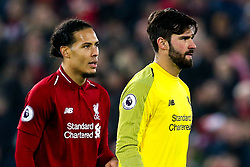 Alisson Becker of Liverpool and Virgil van Dijk of Liverpool - Mandatory by-line: Robbie Stephenson/JMP - 26/12/2018 - FOOTBALL - Anfield - Liverpool, England - Liverpool v Newcastle United - Premier League
