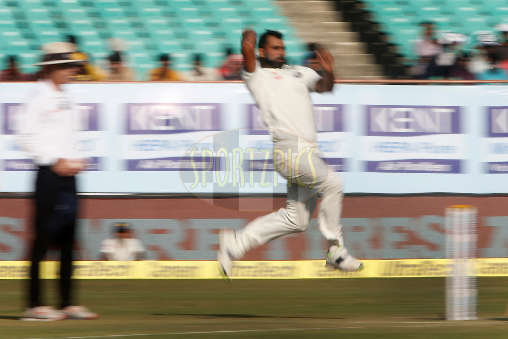 Mohammed Shami of India bowls a delivery during day 4 of the first test match between India and England held at the Saurashtra Cricket Association Stadium , Rajkot on the 12th November 2016.<br /> <br /> Photo by: Deepak Malik/ BCCI/ SPORTZPICS