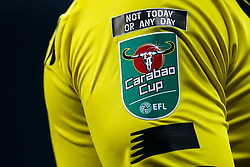 The Carabao Cup logo underneath a message to end racism - Mandatory by-line: Robbie Stephenson/JMP - 16/09/2020 - FOOTBALL - The Hawthorns - West Bromwich, England - West Bromwich Albion v Harrogate Town - Carabao Cup