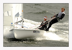 470 Class European Championships Largs - Day 3.Brighter conditions with more wind...GBR853, Anna BURNET, Flora STEWART, RNCYC