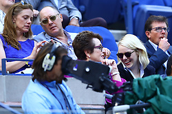 Billie Jean King with actors Emma Stone,Michael J. Fox, and James Spader during Women's Finals of the 2017 US Open at the Billie Jean King Tennis Center in New York, NY on September 9, 2017. (Photo by Chaz Niell )