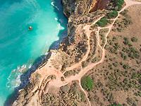Aerial view of coastline of The Ponta da Piedade, portugal.