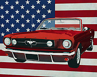 In 1964 Ford introduced the legendary Ford Mustang Convertible and this revolutionary model set the tone for many sports cars. The Ford Mustang series was and still is a success and the typical sound of the enormously powerful engine is for many a divine sound.<br /> <br /> This painting of the Ford Mustang Convertible, built in 1964, with the American flag in the background can be purchased in various sizes and printed on canvas as well as wood and metal. You can also have the painting finished with an acrylic plate over it which gives it more depth. -<br /> -<br /> BUY THIS PRINT AT<br /> <br /> FINE ART AMERICA<br /> ENGLISH<br /> https://janke.pixels.com/featured/ford-mustang-convertible-1964-with-flag-of-the-usa-jan-keteleer.html<br /> <br /> <br /> WADM / OH MY PRINTS<br /> DUTCH / FRENCH / GERMAN<br /> https://www.werkaandemuur.nl/nl/shopwerk/Ford-Mustang-Convertible-1964-met-vlag-van-de-V-S-/664999/132?mediumId=1