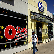 LOS ANGELES, CA, September 26, 2007: A Volkswagon dealership in Los Angeles offers zero percent financing. (Photo by Todd Bigelow/Aurora)