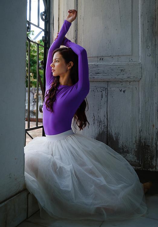 HAVANA, CUBA - CIRCA JANUARY 2020: Portrait of ballerina in an old mansion in Havana.