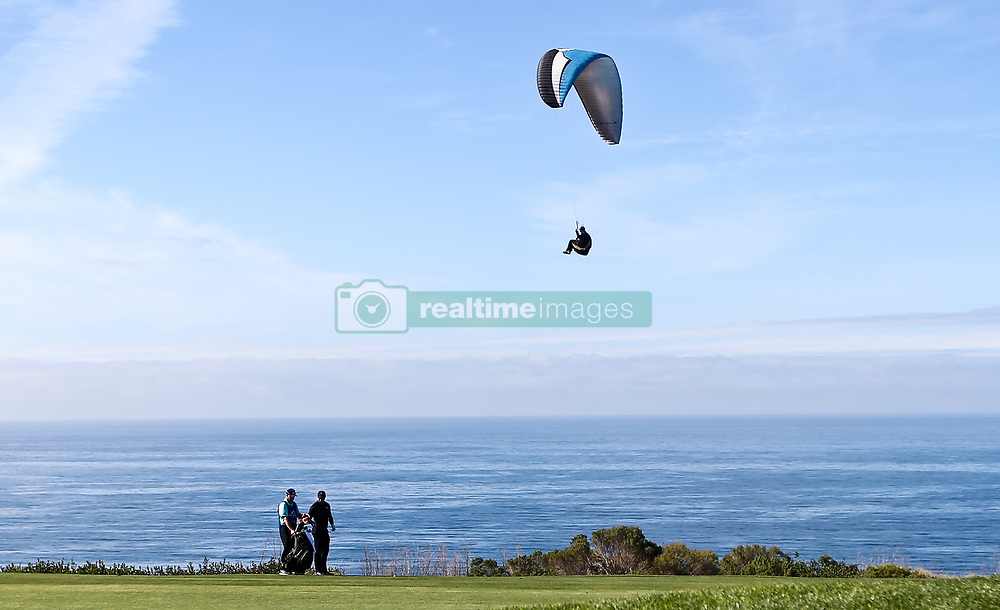 January 25, 2018 - San Diego, California, United States - Tiger Woods (R) and his caddie Joe LaCava wait on the fairway during the first round of the 2018 Farmers Insurance Open at Torrey Pines GC. (Credit Image: © Debby Wong via ZUMA Wire)